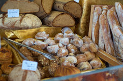 Bread Assortiment. Different kinds of bread at a French bakery shop Royalty Free Stock Photography