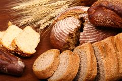 Bread assortment background Royalty Free Stock Images