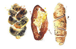 Bread assortment watercolor illustration isolated on white background Royalty Free Stock Images