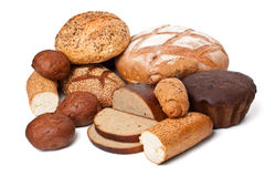 Bread assortment on white Stock Images
