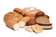 Bread assortment on white Royalty Free Stock Photo
