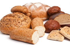 Bread assortment on white Royalty Free Stock Photography