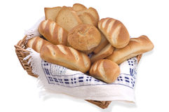 Bread assortment on white background. Bread assortment isolated on white background Royalty Free Stock Photos