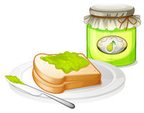 A bread with avocado jam Royalty Free Stock Photos