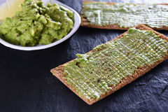 Bread with avocado Stock Image