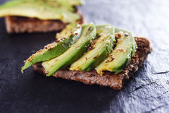 Bread with avocado Royalty Free Stock Photos