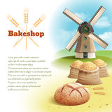 Bread Background Illustration. Bread background with old style country windmill and wheat harvest vector illustration vector illustration