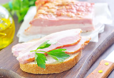 Bread with bacon Stock Photo