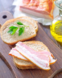 Bread with bacon Stock Photography