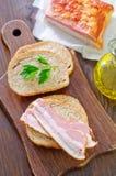Bread with bacon Stock Photos