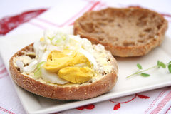 Bread with bacon and eggs Stock Photos