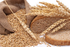 Bread a bag with wheat and ears Stock Images