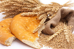 Bread a bag with wheat and ears Royalty Free Stock Image