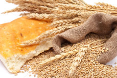 Bread a bag with wheat and ears Royalty Free Stock Photography