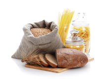 Bread, bag with wheat and macaroni in the containe Royalty Free Stock Images