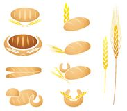 Bread, baguette, corn and wheat. Collection of bread, baguette, corn and wheat ear illustrations Stock Photography
