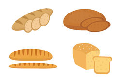 Bread, baguette, loaf set. Bakery products collection. Flat design, isolated on white background. Vector illustration Stock Photos