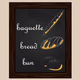 Bread a baguette and rolls are drawn by a chalk Stock Photos
