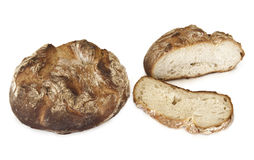 Bread baked in a traditional oven. And sliced bread stock image
