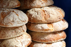 Bread baked with wood. Baked round bread made with wood handcrafted Stock Photography