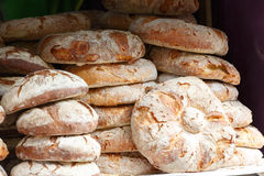 Bread baked with wood. Baked round bread made with wood handcrafted Royalty Free Stock Image
