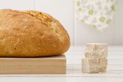 Bread and baker's yeast Royalty Free Stock Photography