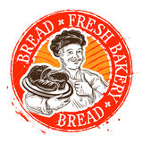 Bread and the baker. stamp. vector illustration Stock Photos