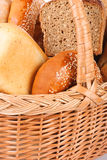 Bread and bakeries in a basket close-up. Bread and bakeries - studio shot Royalty Free Stock Photography