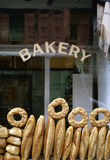 A bread bakery. Shop window of a bakery with various breads Stock Photos