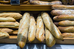 Bread in a bakery or baker's shop. Wheat bread Stock Photos