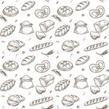 Bakery bread and cereals vector sketch pattern royalty free illustration