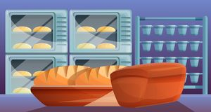 Bread from bakery factory concept banner, cartoon style. Bread from bakery factory concept banner. Cartoon illustration of bread from bakery factory vector vector illustration