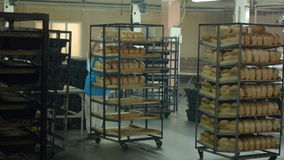 Bread bakery food factory production with fresh products stock video