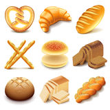 Bread and bakery icons vector set Royalty Free Stock Photos