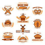 Bread, bakery and pastries signs or icons Royalty Free Stock Images