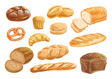 Bread and bakery product watercolor drawing set. Bread, bakery product watercolor drawing set. Fresh loaf of bread, baguette, croissant, cupcake, toast, burger Stock Photo