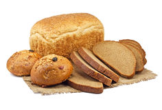 Bread and bakery products. On white background Stock Photos