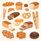 Bread bakery products color vector illustration organic agriculture meal fresh pastry. Stock Photo