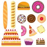 Bread and bakery products. Bread, cake, cake, donut, cookies, pizza. Bread and bakery products. Flat design, vector illustration, vector Stock Photo