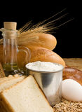 Bread and bakery products isolated at black Stock Images