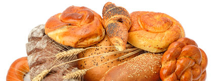 Bread and bakery products isolated on white Royalty Free Stock Photo