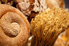 Bread. Bakery products. A loaf of bread and wheat ears Royalty Free Stock Photography