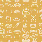 Bread and bakery products seamless pattern. Bakery items. Background from food. Baguette and pancakes. Pie and tart. Pan with batter and mill. Sack of flour royalty free illustration