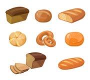 Bread bakery products vector cartoon icons Stock Photos