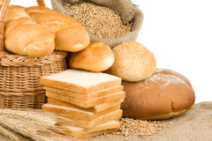Bread and bakery products on white Stock Photos