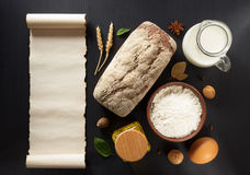 Bread and bakery products on wood Stock Photo