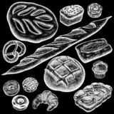 Bread. Bakery set. Bakery set. Bread white and black, brioche, ciabatta, croissant, French baguette, bun, pretzel, donut, muffin, loaf. White chalk on a black stock illustration