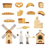 Bread Bakery Set. Flat bakery set with two bakers bread and other baked products on white background vector illustration vector illustration