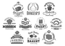 Bread and bakery shop desserts vector icons set. Bakery shop and pastry icons. Wheat and rye bread bagels and loafs, cake or cupcakes desserts. Vector isolated royalty free illustration
