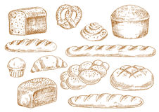 Bread and bakery sketch icons Royalty Free Stock Photos